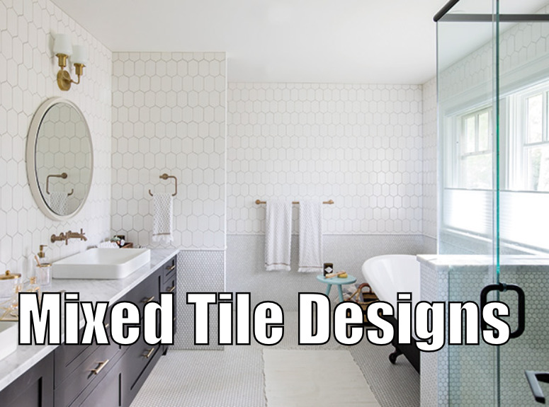 mixed tile design in bathroom 2018
